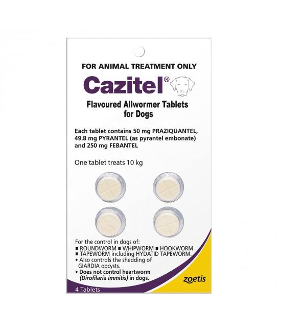 Cazitel Allwormer For Dogs 10kg 4 Tablets