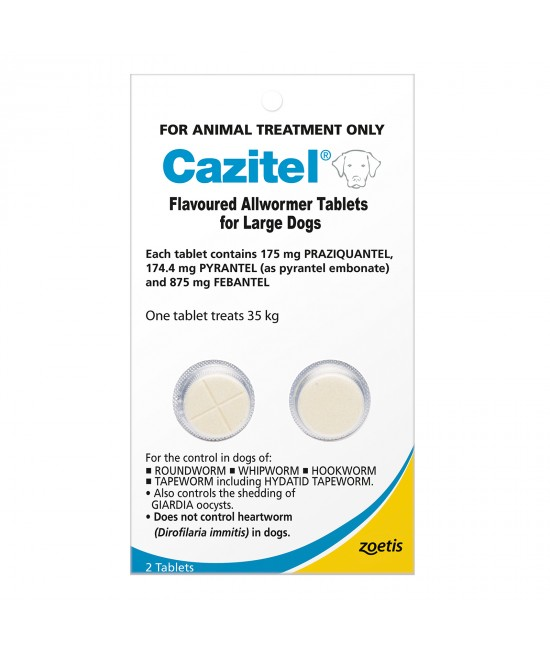 Cazitel Allwormer For Dogs 35kg 2 Tablets