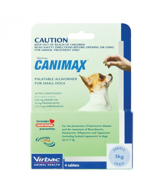 Canimax All Wormer For Small Dogs 5kg 4 Tabs